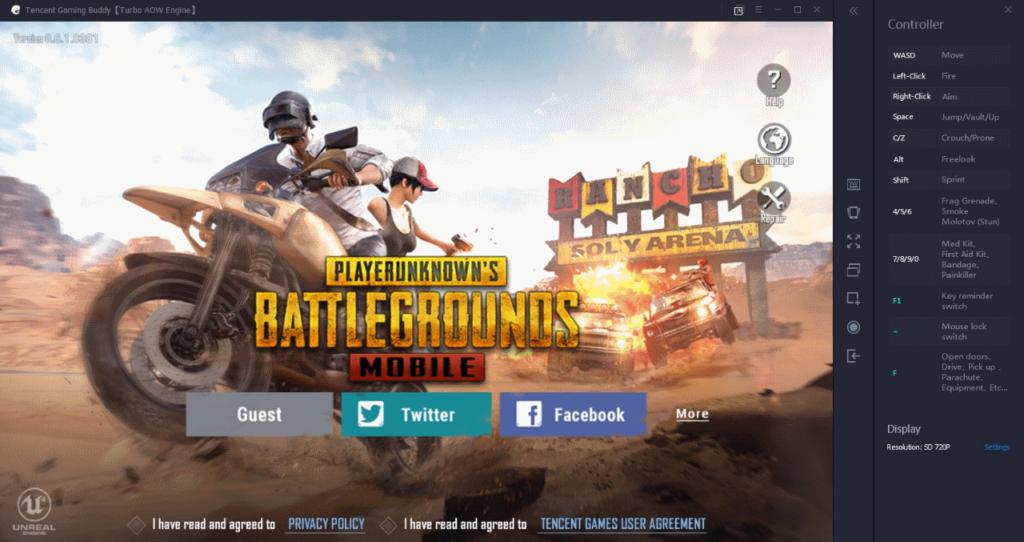 Стартовый экран Tencent Gaming Buddy
